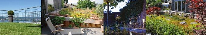Bildleiste - Dachbegrünung - Kunstrasen - Teichbach - Gartenbeleuchtung - Flachdachbau - Straßenbau